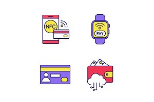 E-payment color icons set