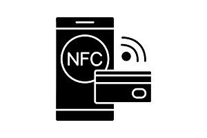 NFC technology glyph icon