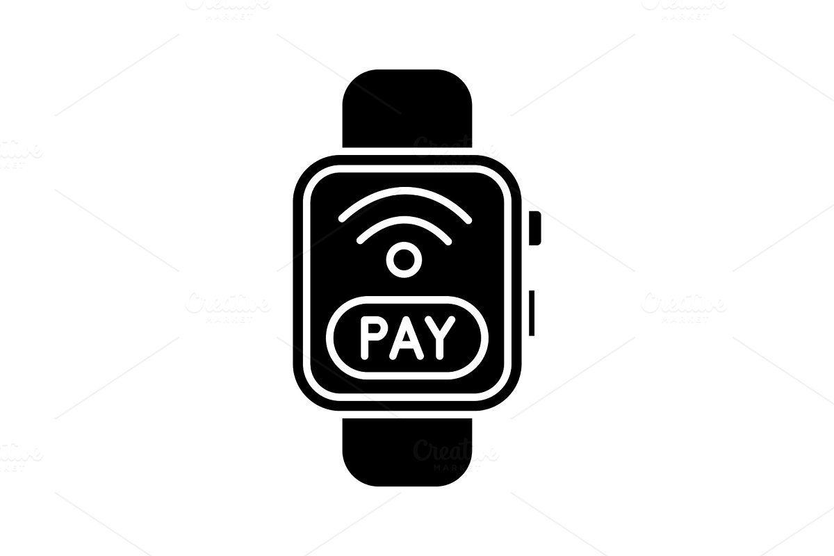 Smartwatch NFC payment glyph icon