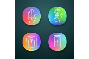 NFC technology app icons set