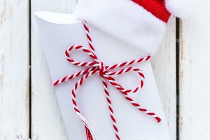 Christmas gift in Santa hat