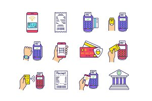 NFC payment color icons set