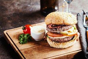 Hamburger and dark beer