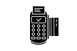 Successful POS terminal glyph icon