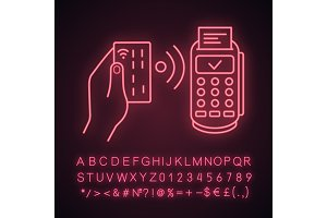 NFC payment neon light icon