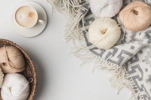 top view of yarn balls in wicker bas