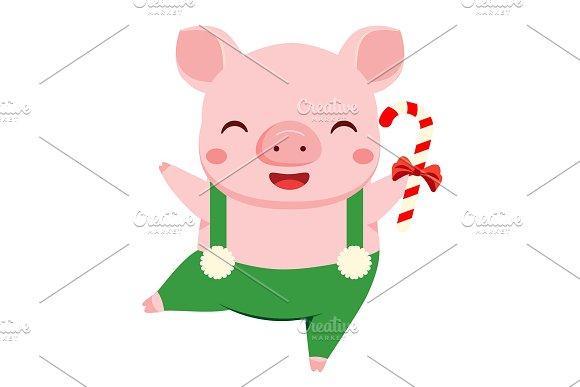 Cartoon Pig 2019 Chinese New Year Icons Creative Market