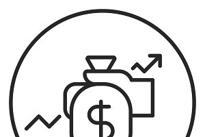 Money growth stroke icon, logo