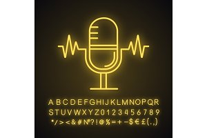 Speech recognition neon light icon