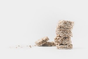 stack of healthy rice cakes isolated