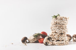 stack of rice cakes with mushrooms a