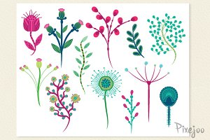 12 Flower Clipart in Vector and PNG