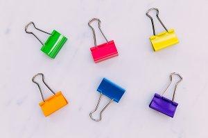 Colorful foldback paperclips