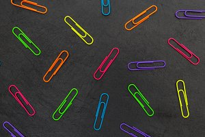 Colorful paperclips stationery