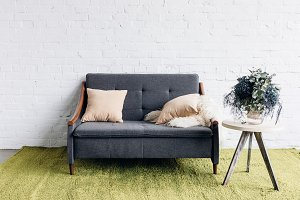 comfy couch in modern living room wi