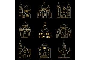 Gold line christian church set
