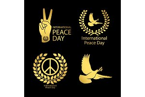 Gold peace day logos set