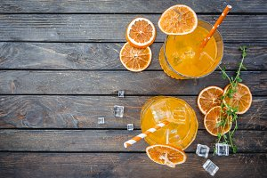 Glasses of aperol soda cocktail