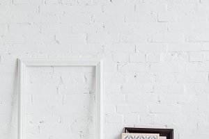 picture frames with leaning on white