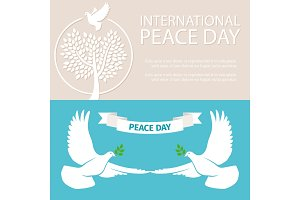 Peace Day vector banners template