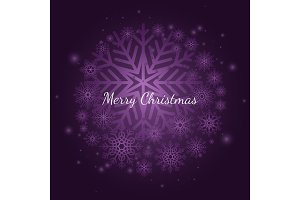 Purple winter snowflake Christmas