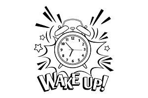 Cartoon alarm clock isolated on