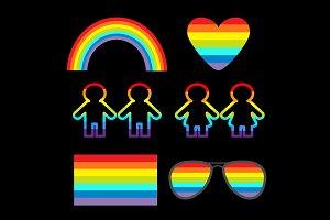 LGBT symbol set. Heart flag rainbow