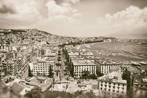 Antiqued image of the Gulf of Naples