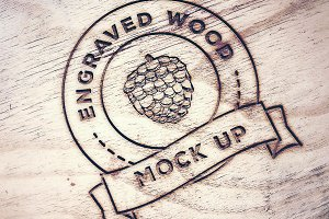 Engraved Wood Logo Mock Ups