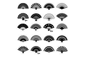 Oriental fans silhouettes