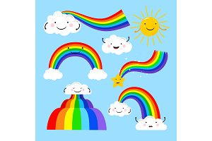 Rainbows and clouds elements