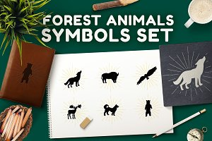 Forest Animals Symbols Set