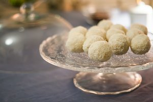 Cakes with coconut truffles in the e
