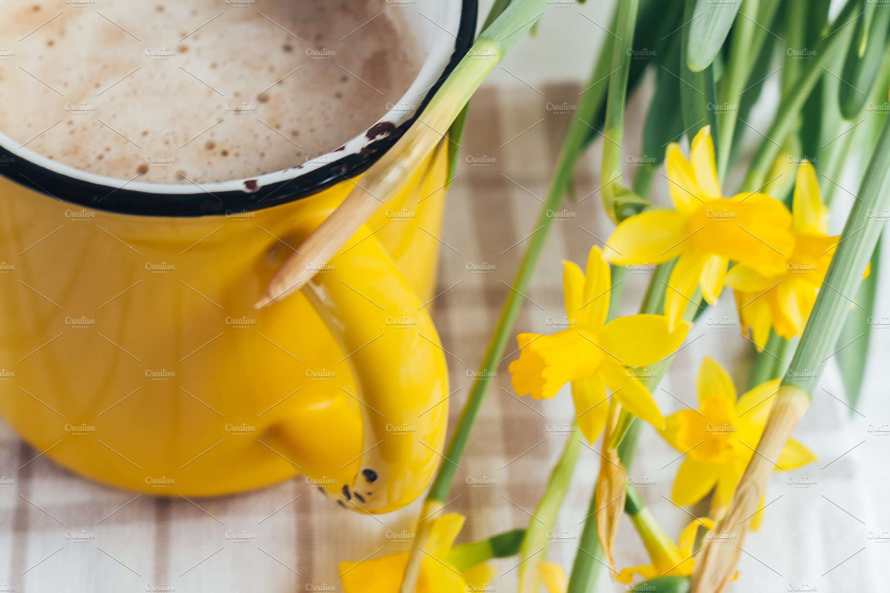 Spring Flowers Daffodils With A Cup Food Drink Photos Creative