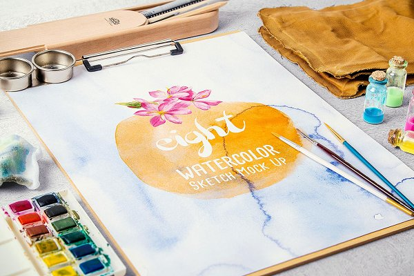 Watercolor Paint Mock Up