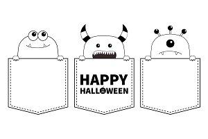 Happy Halloween. Monster pocket set.