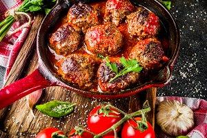 Homemade baked meatballs