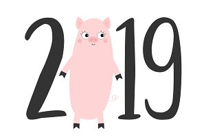 2019 text. Pig. Happy New Year