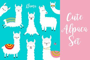 Llama alpaca set. Cute animals.