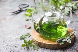 Hot herbal mint tea
