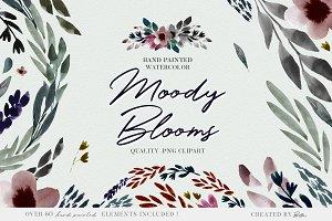 Moody Watercolor florals, clip art