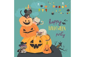 Happy halloween with pumpkin and