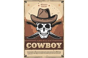Cowboy skull in hat, crossed knives