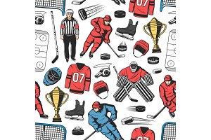 Ice hockey sport seamless pattern