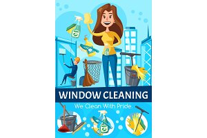 Window cleaning service, workers