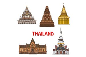 Thailand travel landmark and temples