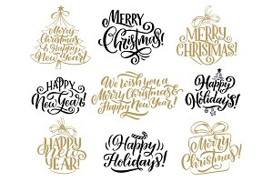 Christmas, New Year lettering