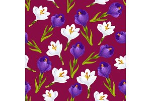 Crocus flower seamless pattern