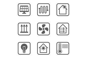 Intelligent house line icons set