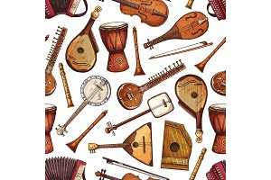 Folk musical instruments pattern